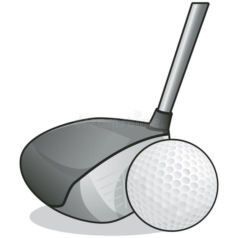 Club et bille de golf avec le chemin de découpage illustration de vecteur
