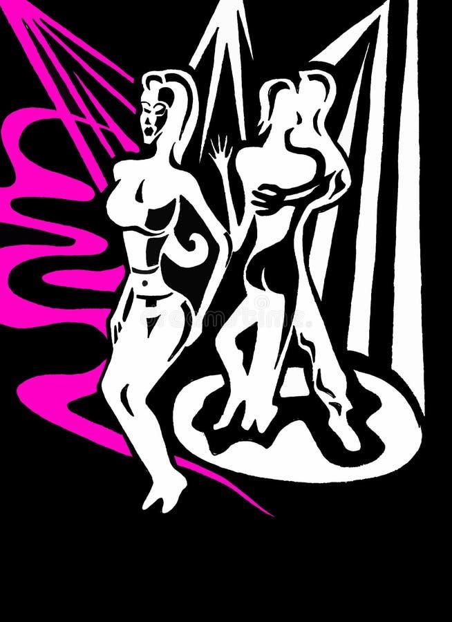 Club het dansen strippaginaart. stock fotografie