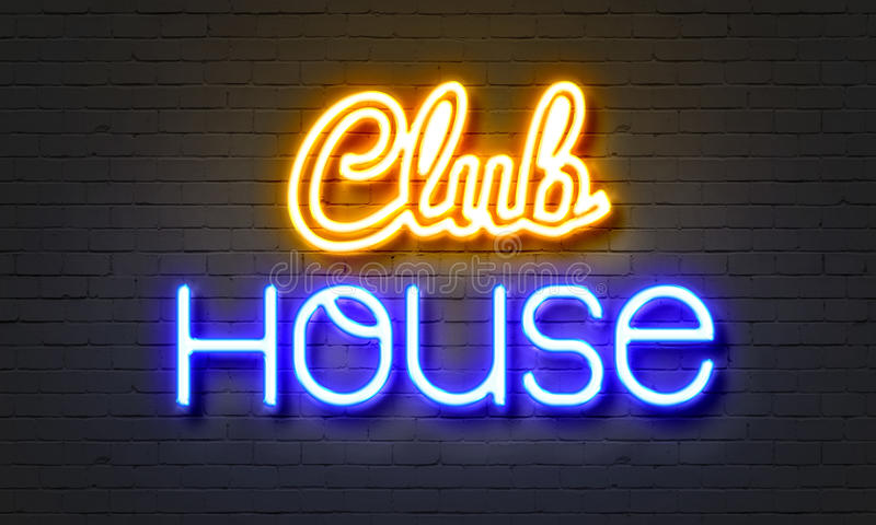 Club house neon sign on brick wall background. Club house neon sign on brick wall background royalty free stock photos