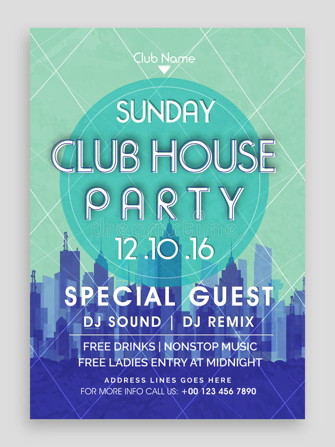 Club House Party Flyer Template Or Banner Design Stock