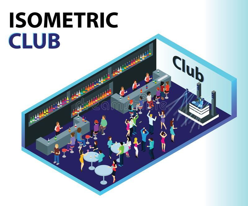 Club Isometric Artwork Concept where people are partying. royalty free illustration