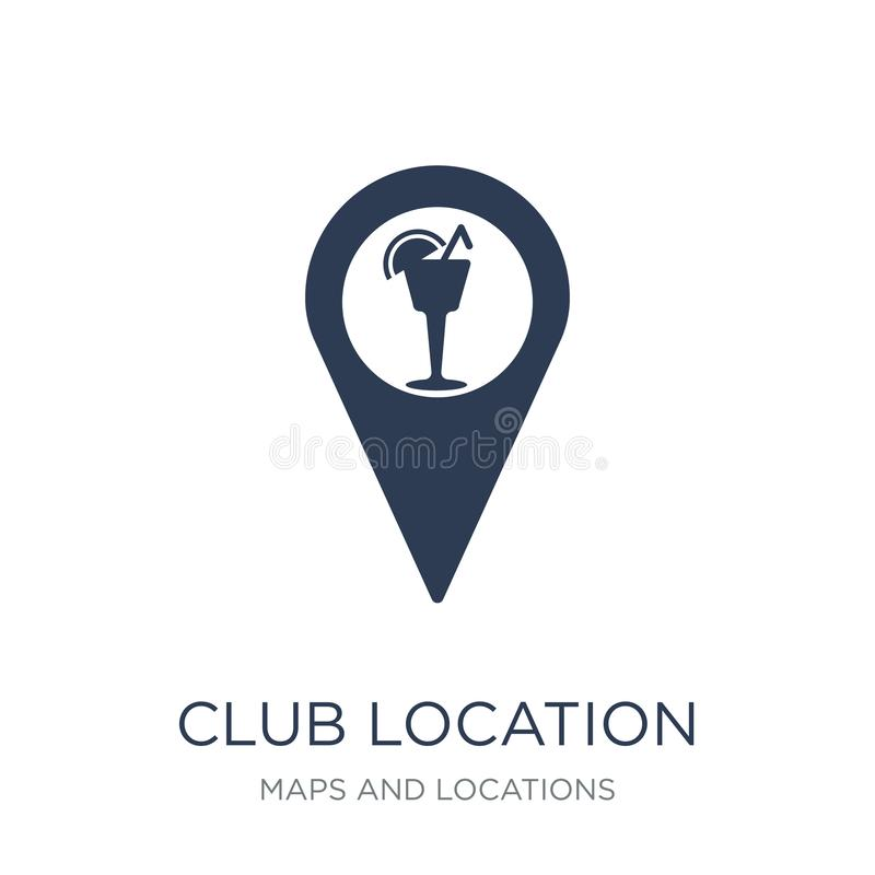 Club location icon. Trendy flat vector Club location icon on white background from Maps and Locations collection. Vector illustration can be use for web and royalty free illustration
