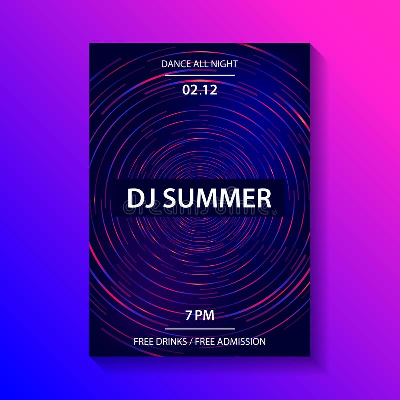 Club music party poster. Dance party flyer, brochure, cover. Dj mixing vinyl disc. Dark blue background. Vector illustration vector illustration