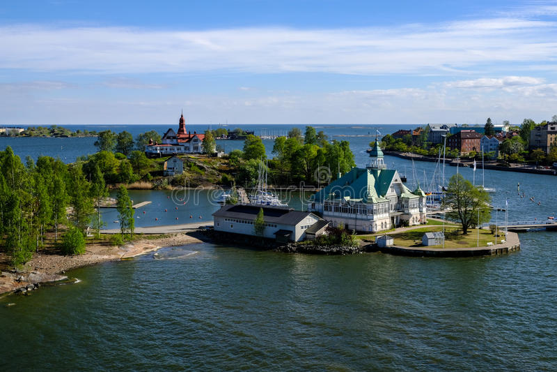 Club náutico de Helsinki, Finlandia en la isla de Luoto imágenes de archivo libres de regalías