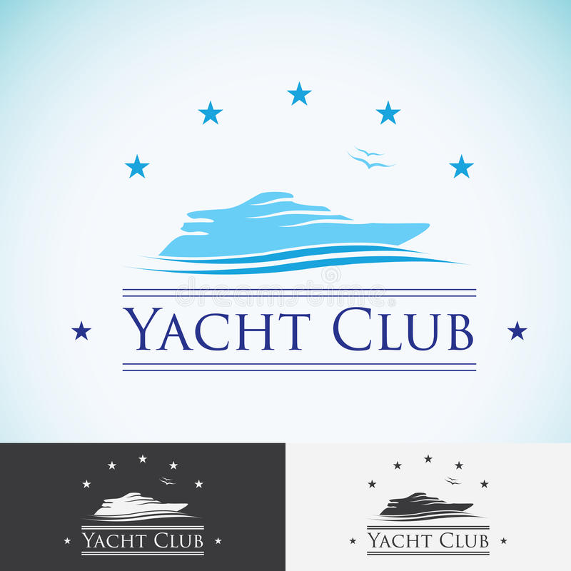 Club náutico, plantilla del diseño del logotipo travesía del mar, isla tropical o icono del logotipo de las vacaciones libre illustration