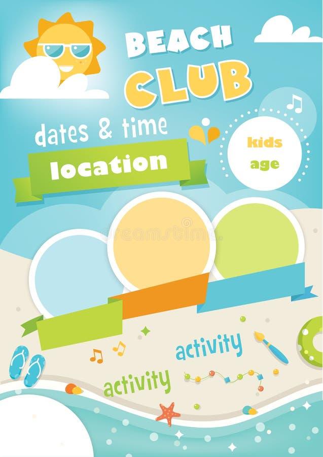 Club o campo de la playa para los niños Plantilla del vector del cartel del verano ilustración del vector