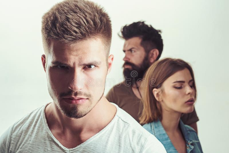 Club for people with problems. family psychologist therapy. depression and suicidal tendencies Hopes and wishes. girl. With two men. Love relations of people royalty free stock photography