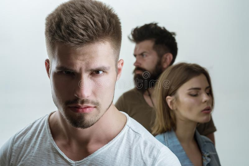 Club for people with problems. family psychologist therapy. depression and suicidal tendencies Hopes and wishes. girl. With two men. Love relations of people stock photo