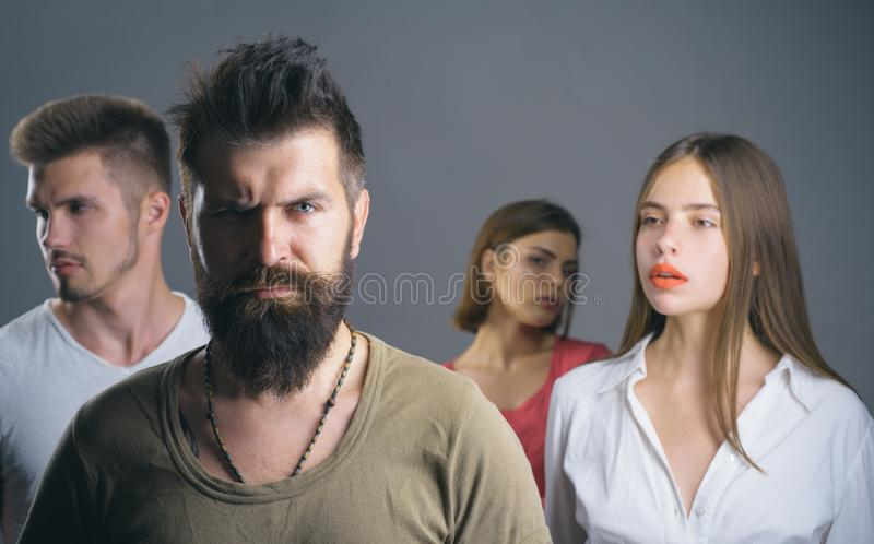 Club for people with problems. family psychologist therapy. Hopes and wishes. depression and suicidal tendencies girls. With two men. Love relations of people royalty free stock image