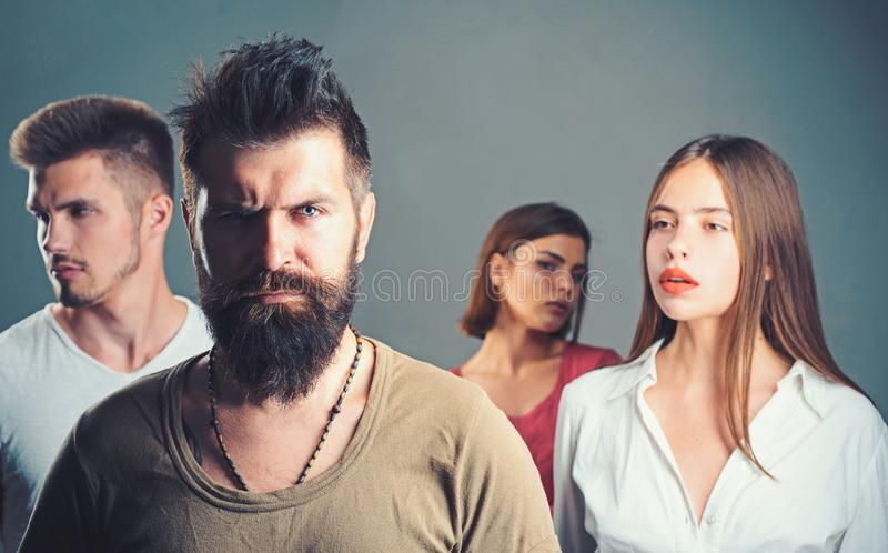 Club for people with problems. family psychologist therapy. Hopes and wishes. depression and suicidal tendencies girls. With two men. Love relations of people stock image