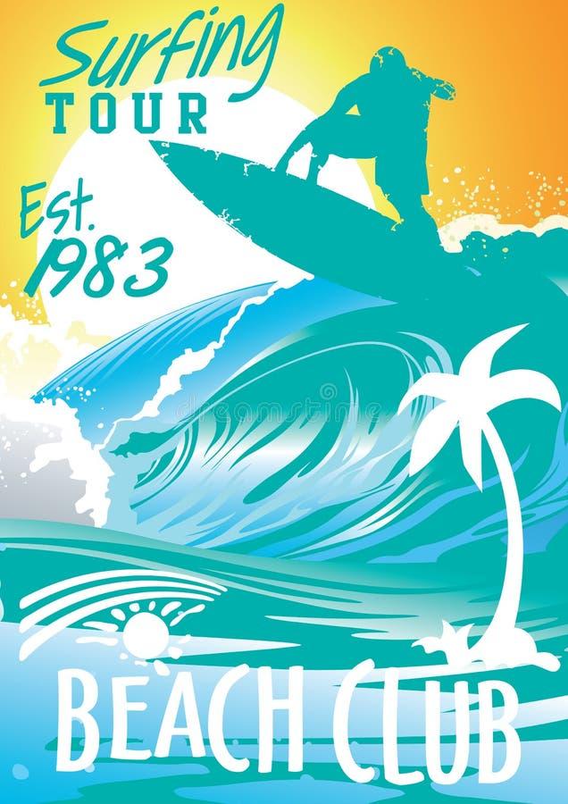 Club praticante il surfing della spiaggia di giro illustrazione vettoriale