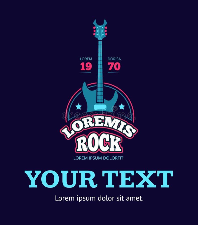 Club retro de la música rock, tienda, logotipo de registro del vector del estudio del sonido, insignia, emblema con la guitarra libre illustration