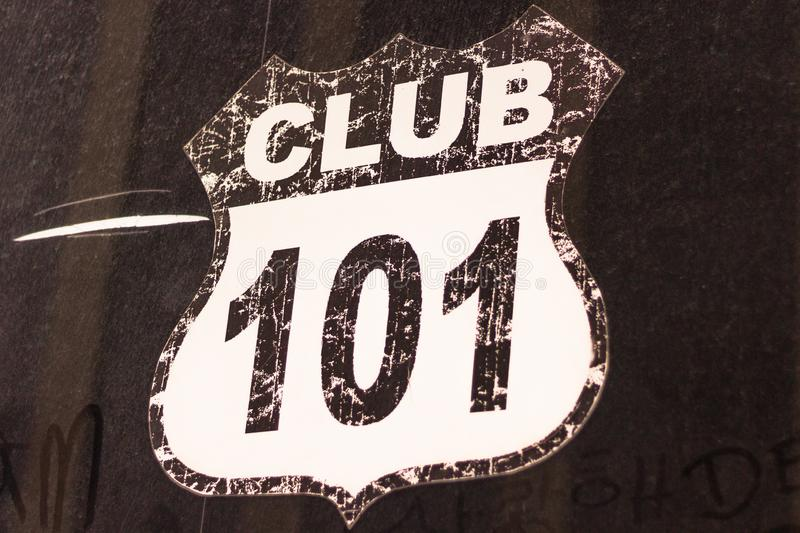 Club route 101 sign, black and white shield sign with route number stock image