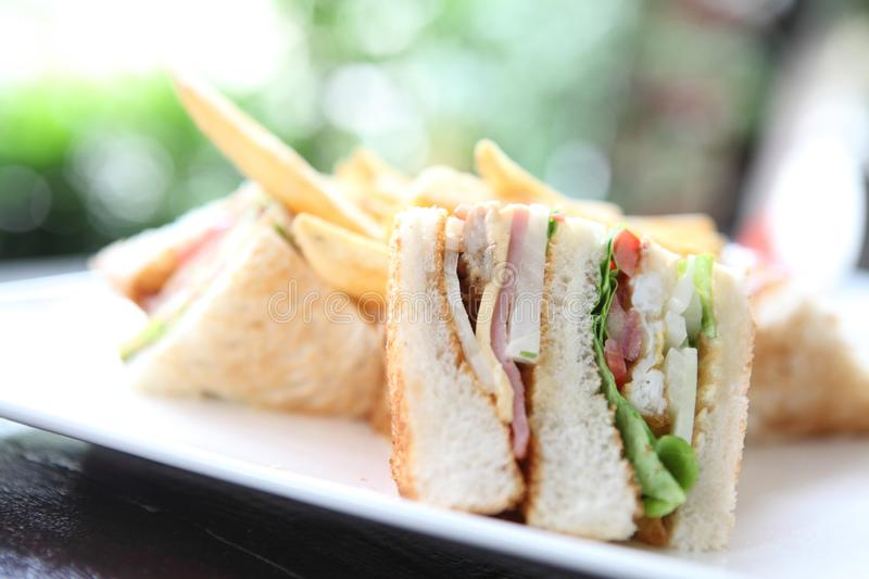 Club sandwich. On a plate in close up stock images