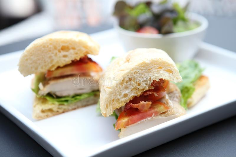 Club sandwich. On a plate in close up royalty free stock images