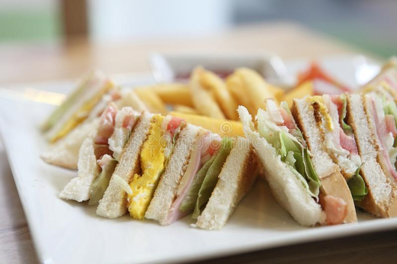 Club sandwich. In close up royalty free stock photos