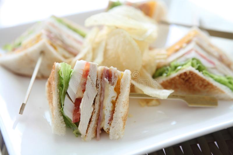 Club sandwich. On a plate royalty free stock images