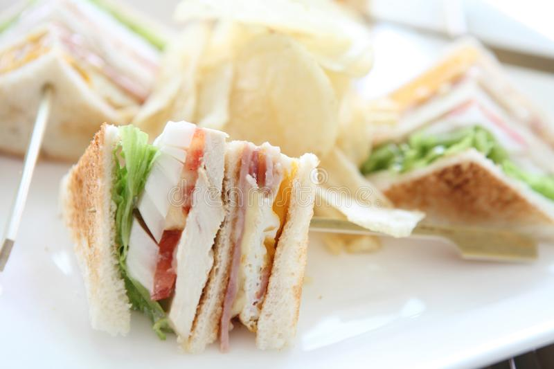 Club sandwich. On a plate royalty free stock image