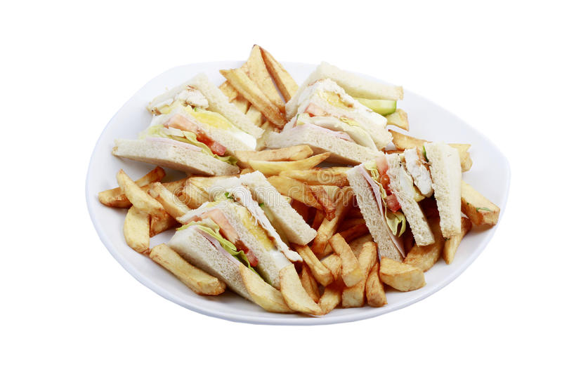 Club sandwich. With fries on a plate stock photo