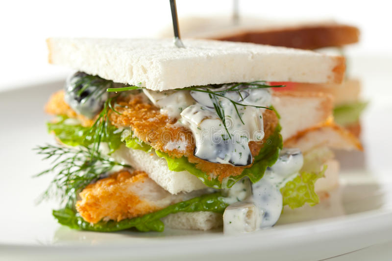 Club Sandwich. Fish and Vegetables Club Sandwich stock photography