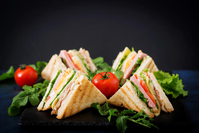 Club sandwich with ham, bacon, tomato, cucumber, cheese, eggs and herbs. On dark background royalty free stock images