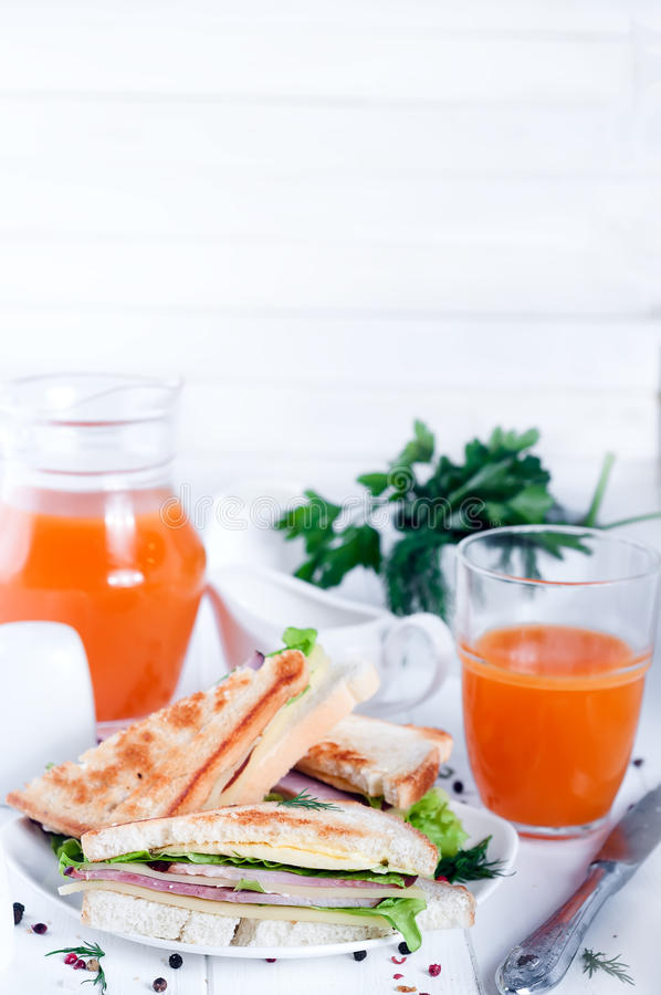Club sandwich and juice stock photos
