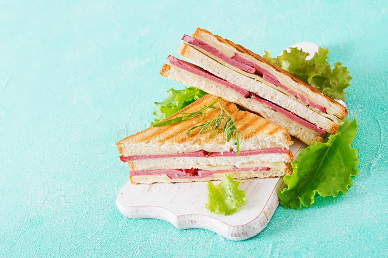 Club sandwich - panini with ham and cheese. On light background. Picnic food stock photos