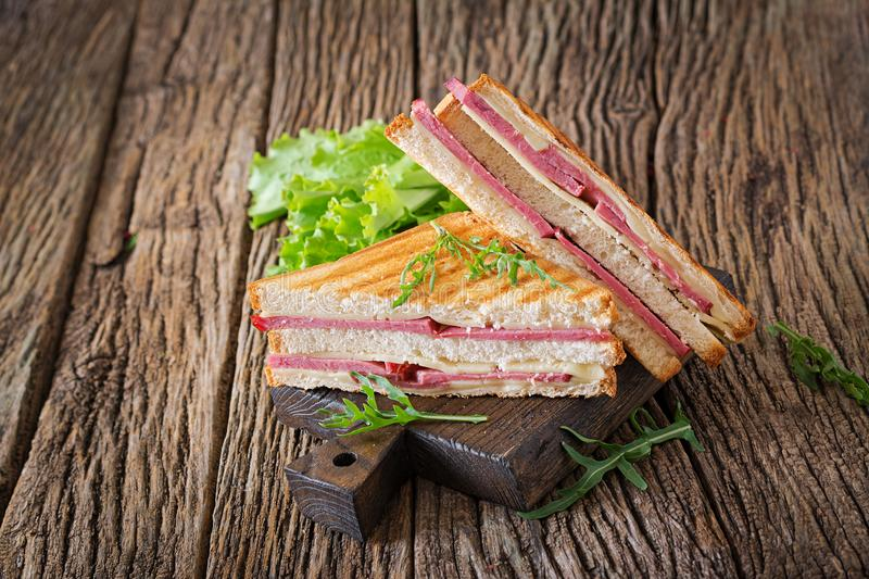 Club sandwich - panini with ham and cheese. On wooden background. Picnic food stock photos