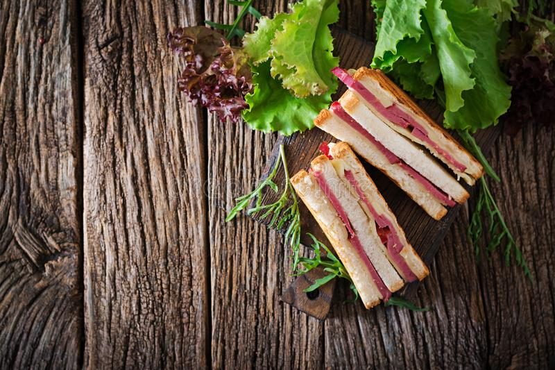 Club sandwich - panini with ham and cheese. On wooden background. Picnic food. Top view. Flat lay stock photos