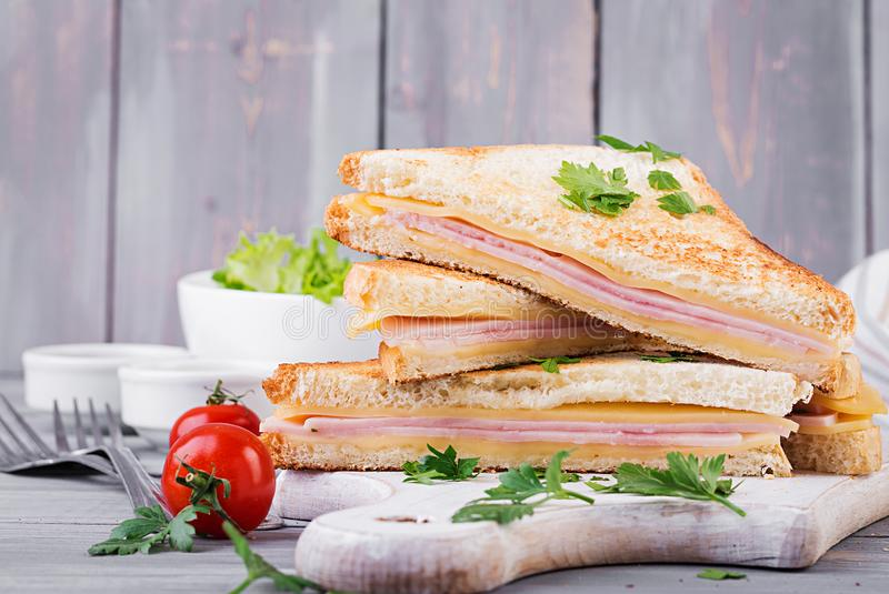 Club sandwich panini with ham, cheese and salad. Tasty breakfast stock photo
