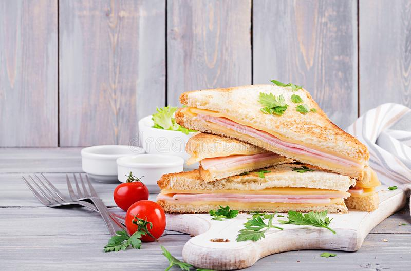Club sandwich panini with ham, cheese and salad. Tasty breakfast stock images