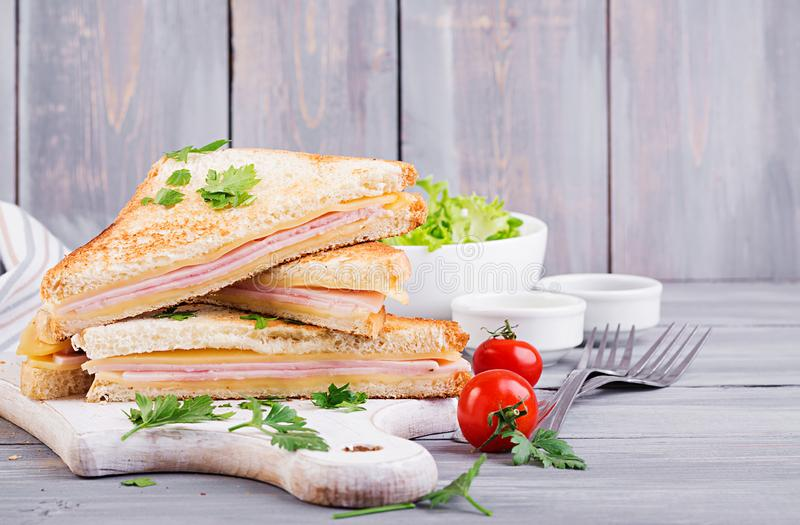 Club sandwich panini with ham, cheese and salad. Tasty breakfast stock photos