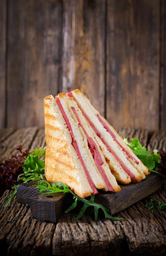 Club sandwich - panini with ham and cheese. On wooden background. Picnic food royalty free stock photos