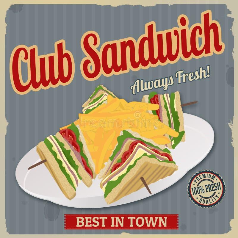 Club Sandwich retro poster stock illustration