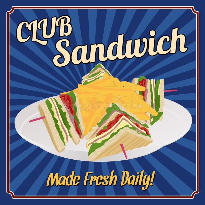 Club Sandwich retro poster royalty free illustration