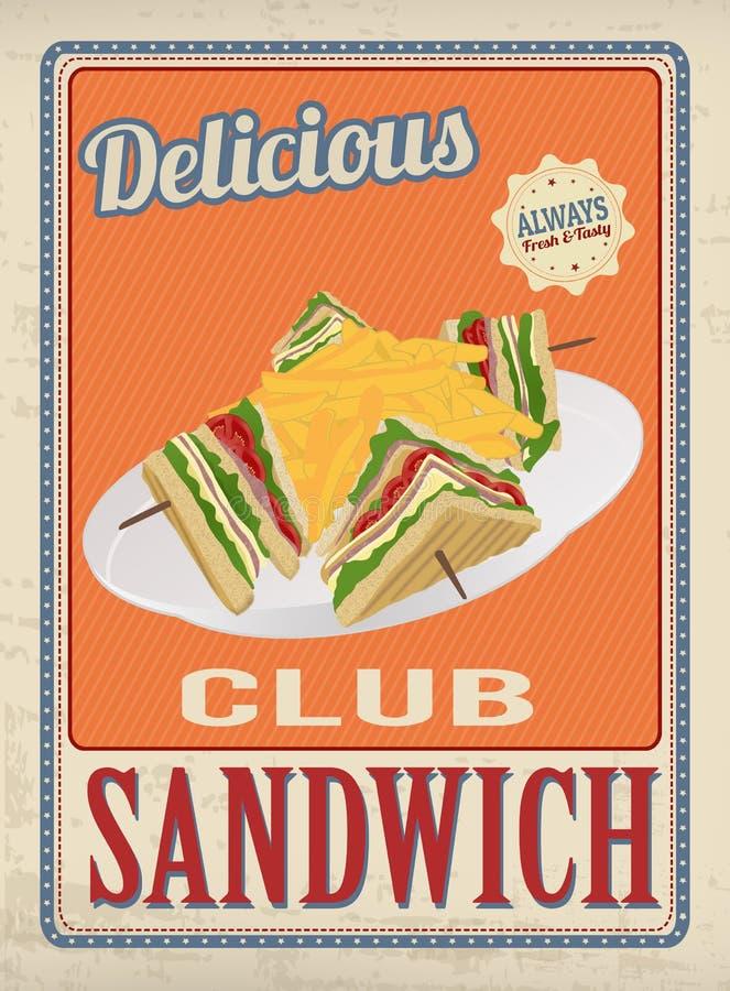 Club Sandwich retro poster vector illustration