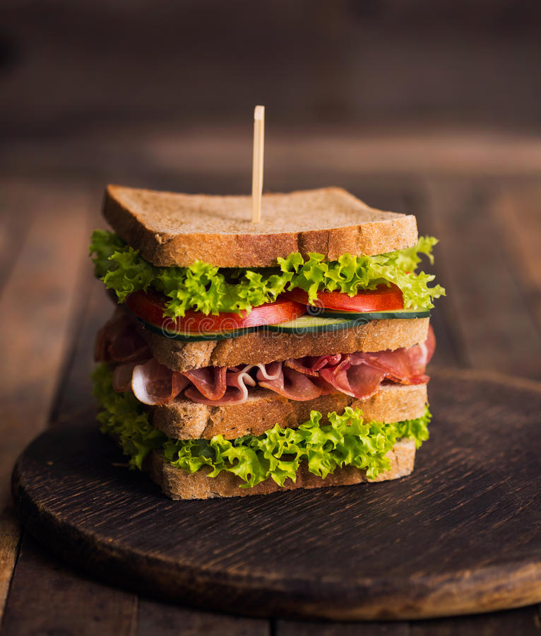 Club sandwich. On the table royalty free stock images