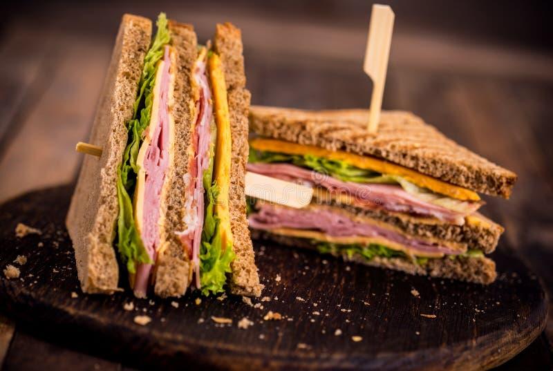 Club sandwich. On the table stock photos