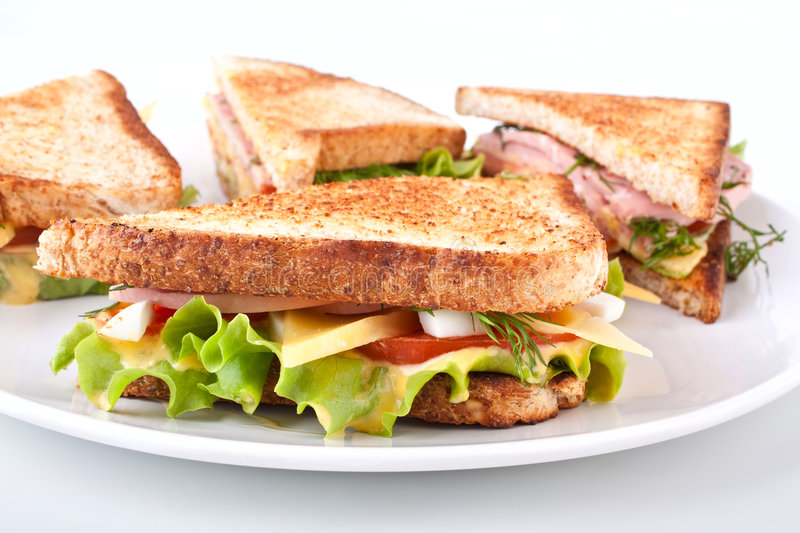 Club sandwich with toasted bread stock photography