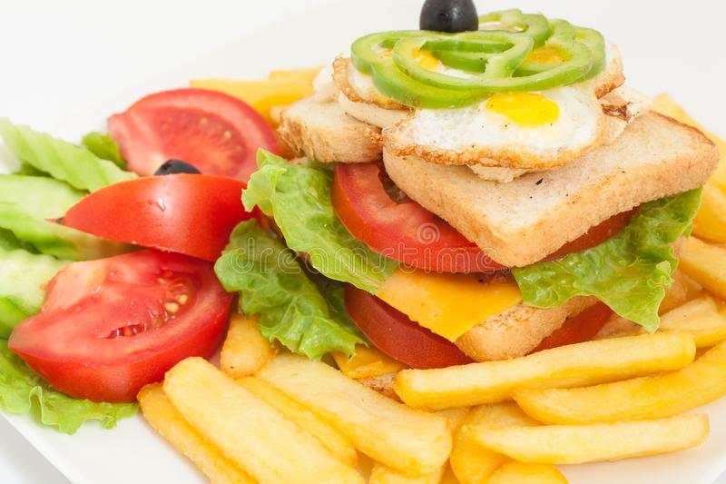 Club sandwich on a white plate with french fries and vegetables. Club sandwich on a plate with french fries and vegetables royalty free stock photo