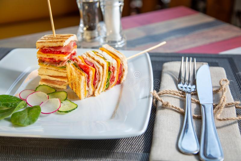 Club sandwich in a white plate. Meal time. Club sandwich in a white plate. Meal time stock photos