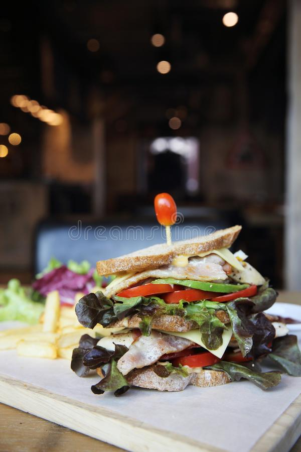 Club sandwich with on wood background. In close up royalty free stock images