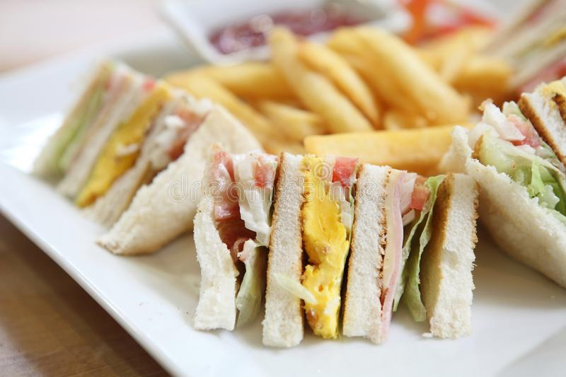 Club sandwich. In close up royalty free stock photography