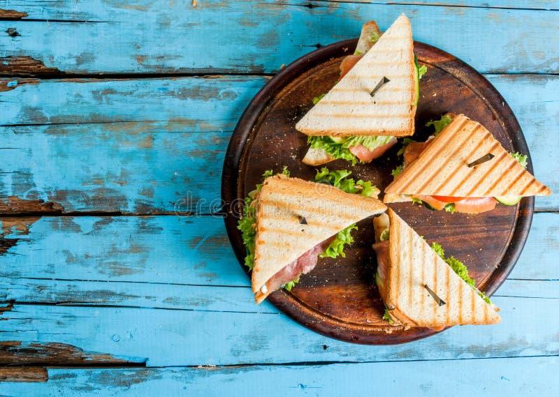 Club sandwiches with salmon stock photo