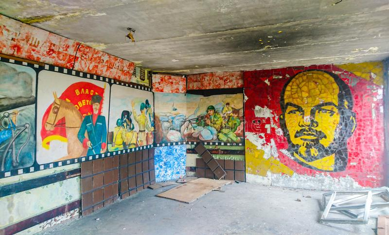 Club sovietico Skrunda, Lettonia dei soldati fotografia stock libera da diritti