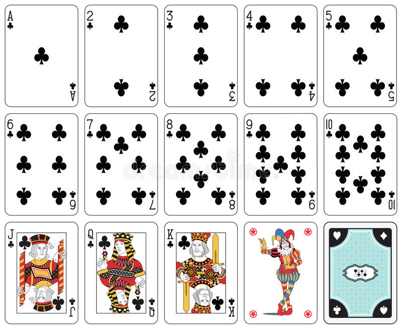 Club suit. Playing cards club suit, joker and back royalty free illustration