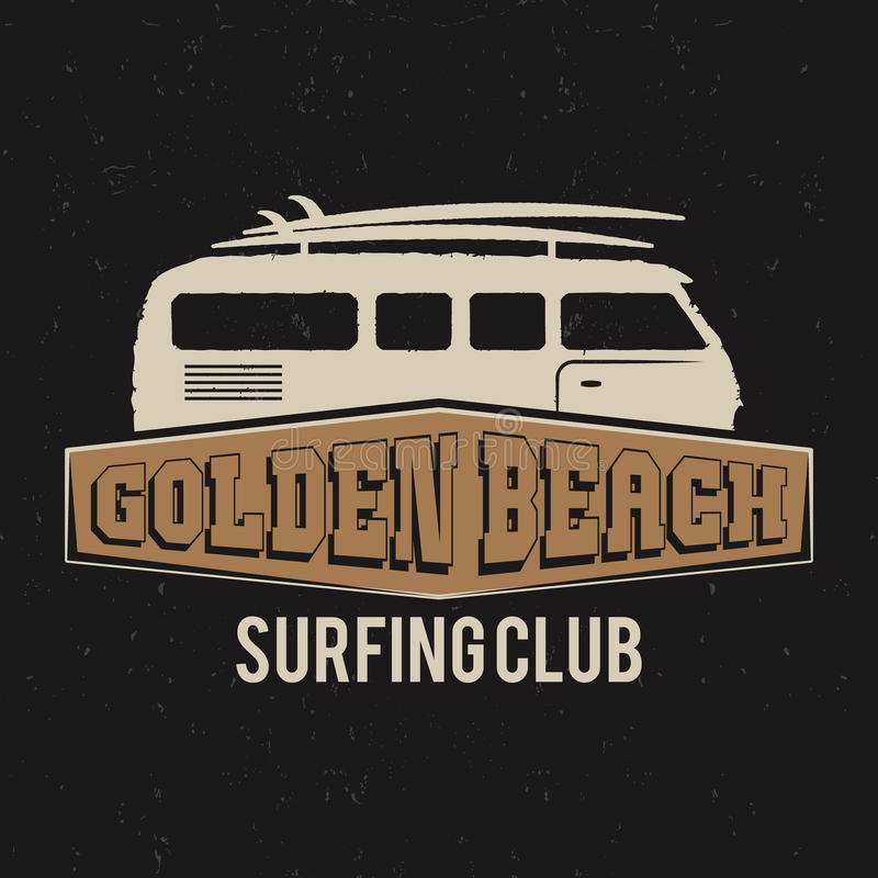 Club-T-Stück Design der Weinlese surfendes Retro- T-Shirt Grafiken und Emblem für Webdesign oder Druck Brandungsbrett, goldener S vektor abbildung