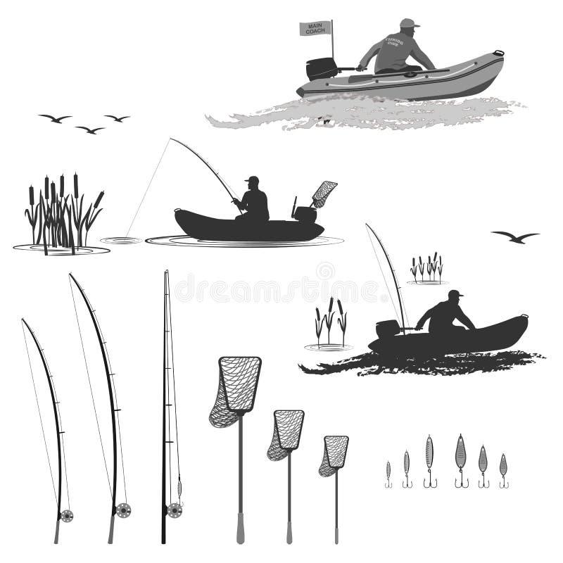 Club van vissers in boten met een motor stock illustratie