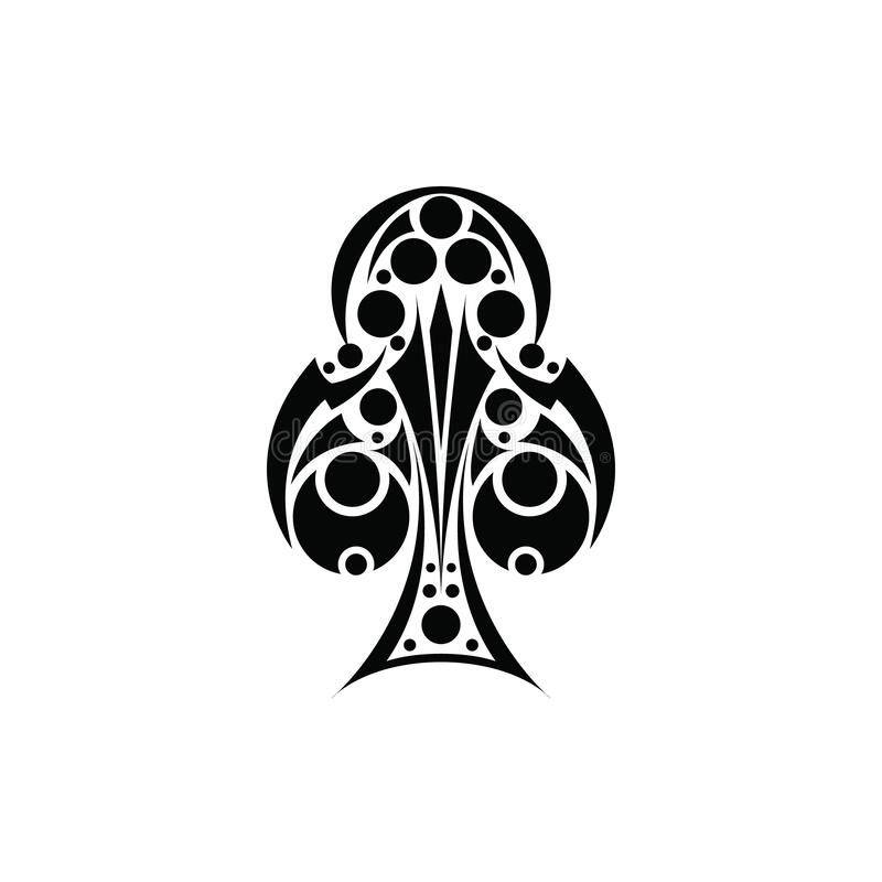 Club Vector Design. Black Playing Club Card Ornamental. Vector of hand drawn suit black club playing card with decorative ornament royalty free stock image