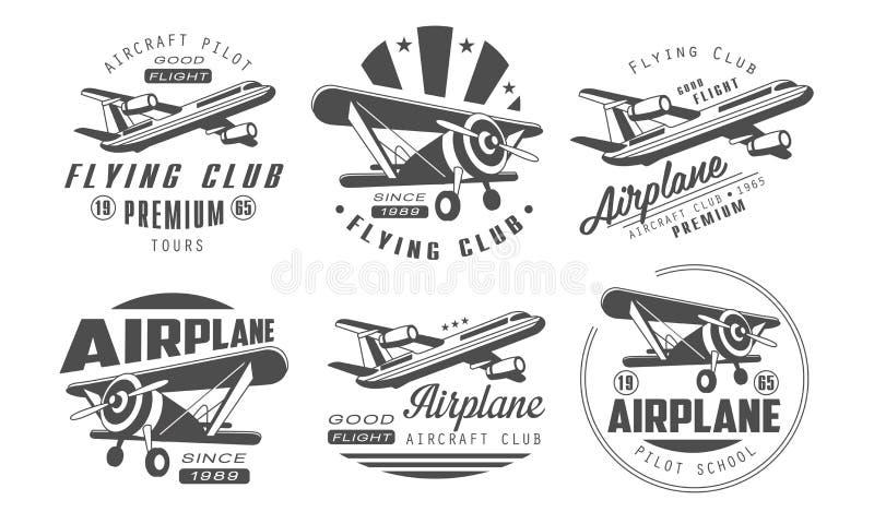 Club volante Logo Templates Set premio, illustrazione monocromatica di vettore dei distintivi del retro di aviazione club degli a illustrazione vettoriale